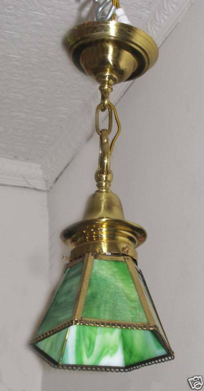 Vintage antique brass pendulum light with 6 panel green for Pendulum light globes