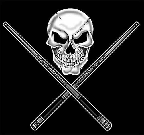 Pool Ball Player Table Skull Crossed Cue Sticks T Shirt Ebay