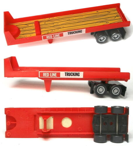 1982 TYCO US-1 Slot Car RED LINE TRUCKING Flat Trailer