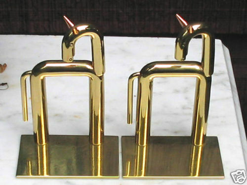 antique industrial art deco chase brass copper horse bookends von nessen mint ebay. Black Bedroom Furniture Sets. Home Design Ideas