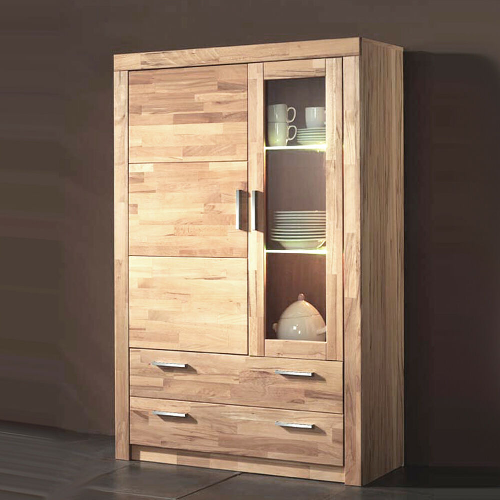 vitrine simone wohnzimmer schrank kernbuche teilmassiv 160cm hoch ebay. Black Bedroom Furniture Sets. Home Design Ideas