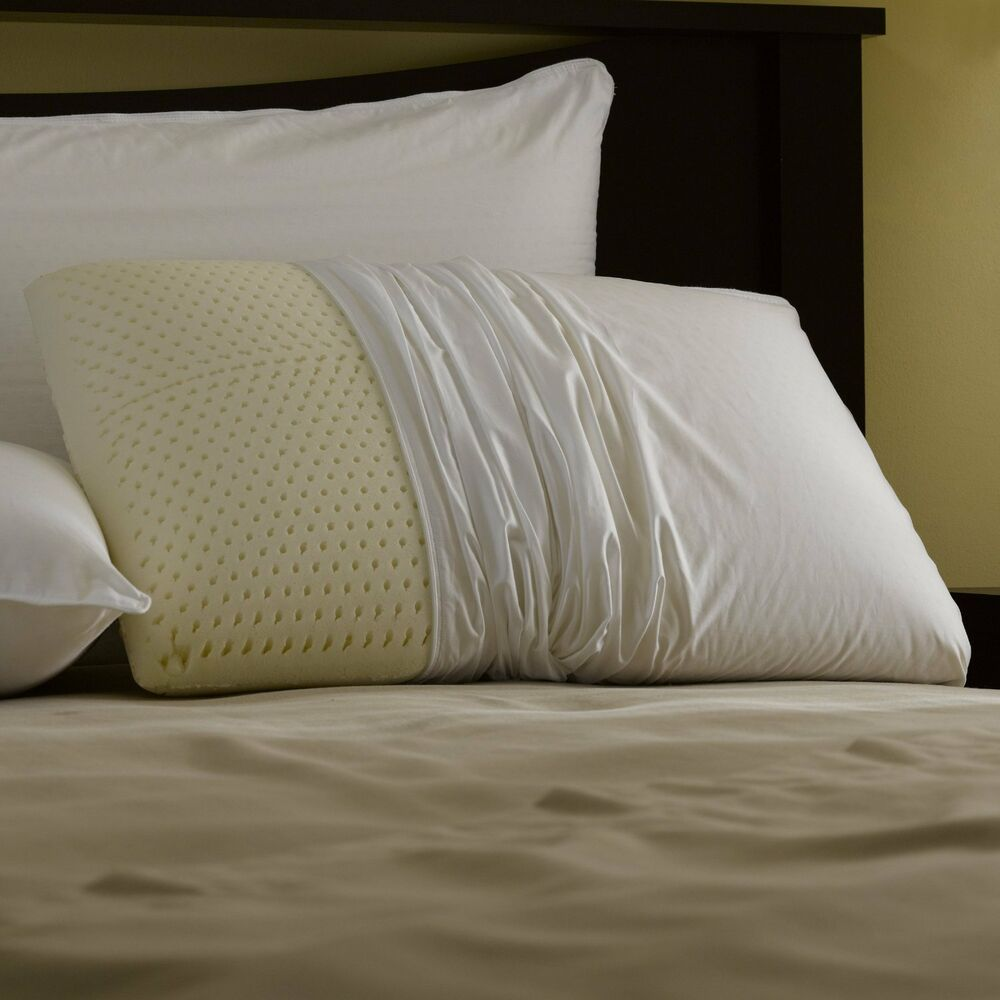 talalay latex foam pillow king size with zippered pillow cover ebay. Black Bedroom Furniture Sets. Home Design Ideas