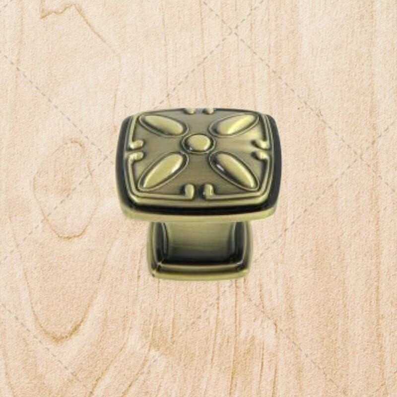 Kitchen cabinet hardware deco square knobs ku093 antique for Square kitchen cabinet knobs