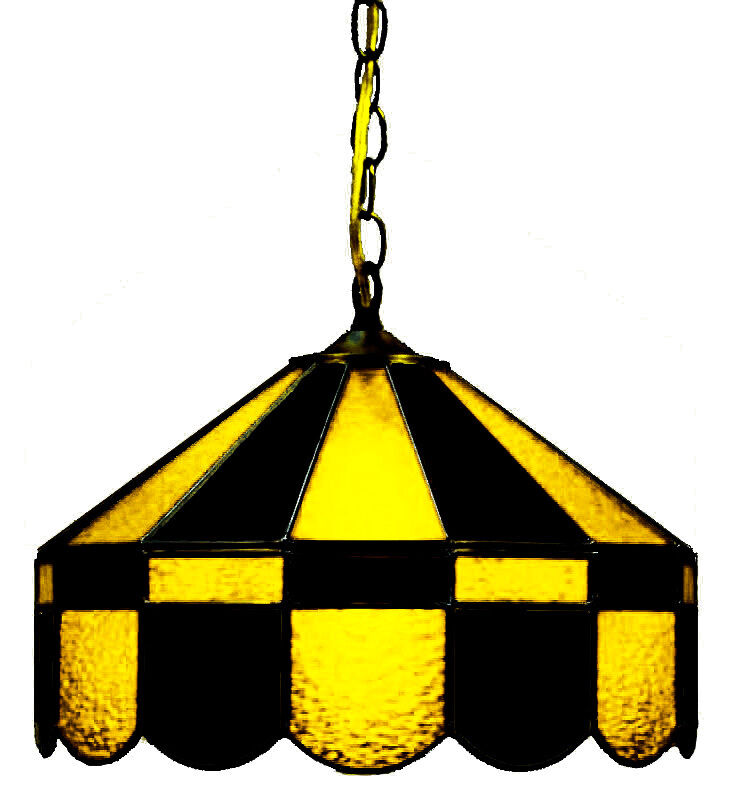 "BLACK & YELLOW 16"" STAINED GLASS HANGING LIGHT FIXTURE PUB"