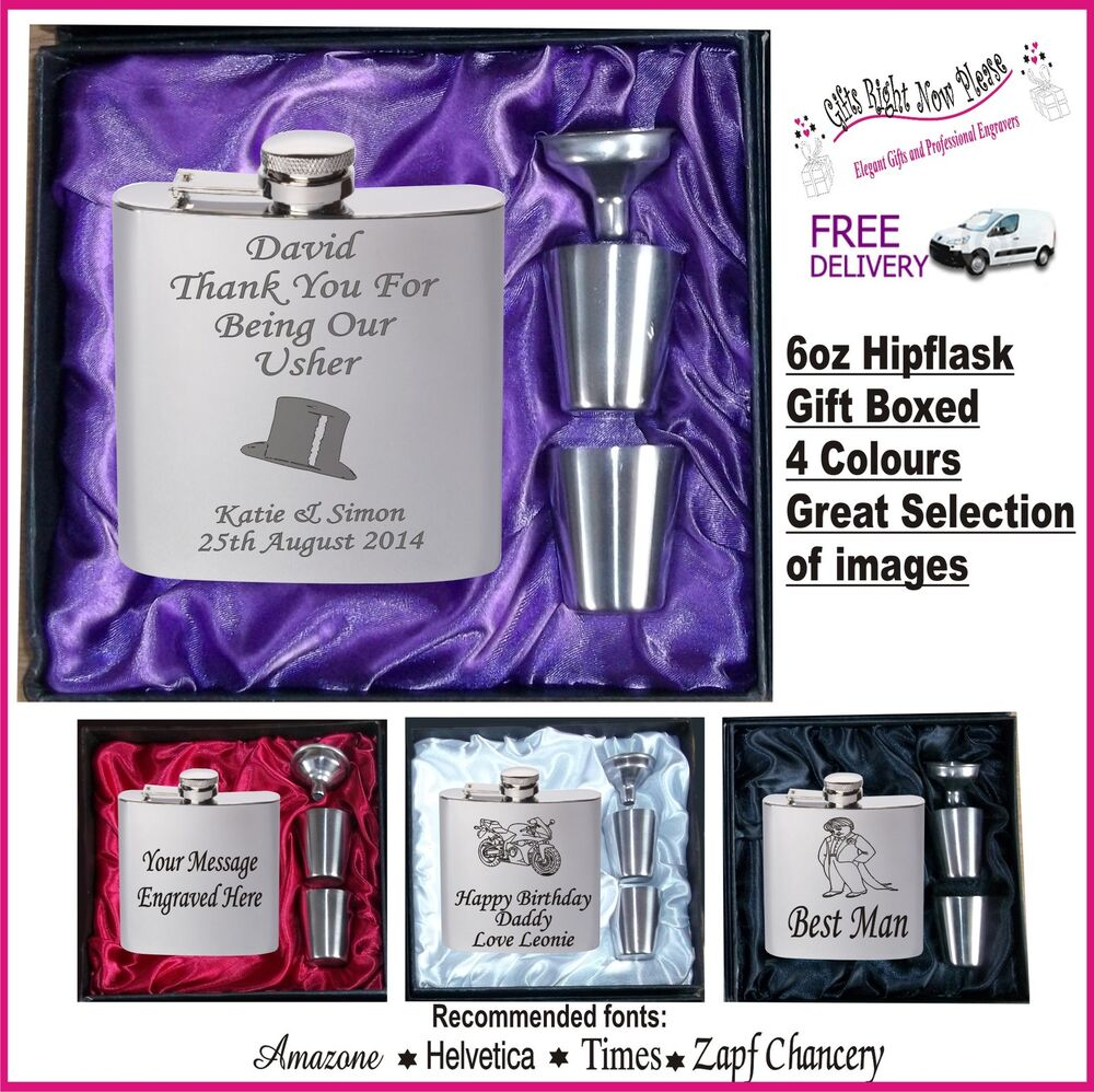 Wedding Gifts For Ushers And Best Man: Engraved Hip Flask Best Man - Usher - Groom Gift Boxed