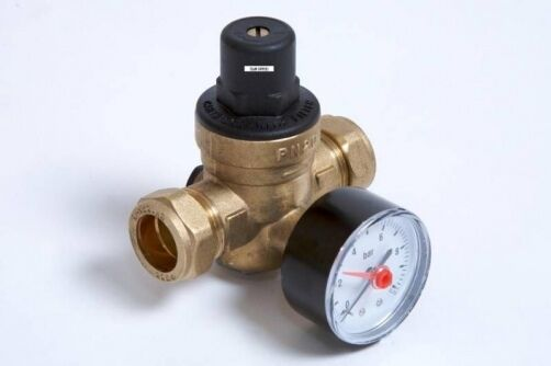 pressure reducing valve dzr brass c w rear entry gauge 15mm 22mm 1 6 bar prv ebay. Black Bedroom Furniture Sets. Home Design Ideas