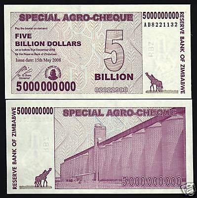 zimbabwe 5 000 000 000 p61 2008 5 billion dollars giraffe unc agro currency note ebay. Black Bedroom Furniture Sets. Home Design Ideas