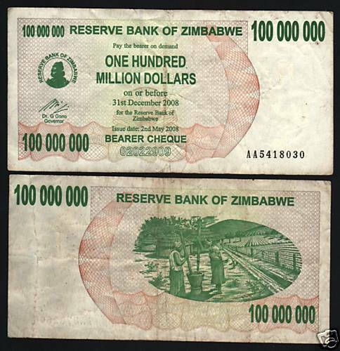 Zimbabwe 100 000 000 p58 2008 dollars million aa currency for 200 thousand dollar homes