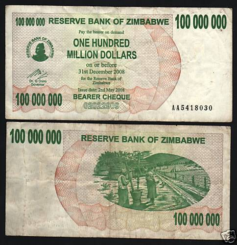 Zimbabwe 100 000 000 p58 2008 100 million dollars aa for 100000 dollar house