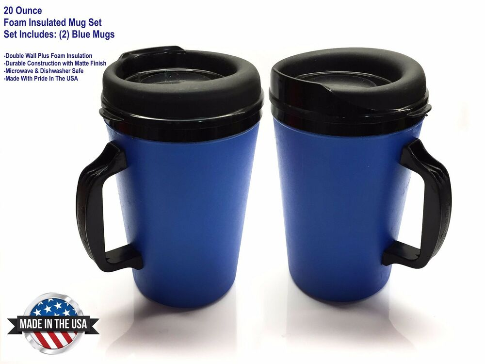 2 thermo serv foam insulated coffee mug 20 oz blue ebay. Black Bedroom Furniture Sets. Home Design Ideas