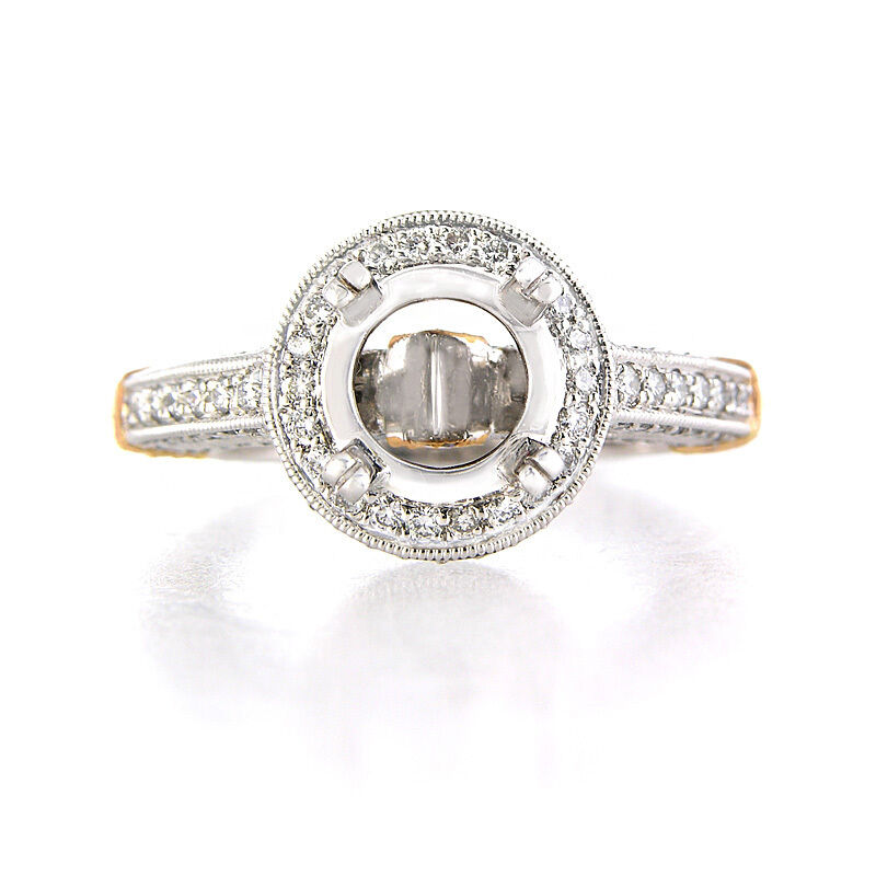 PLATINUM AND 18K ROSE GOLD ANTIQUE STYLE DIAMOND ENGAGEMENT RING SETTING