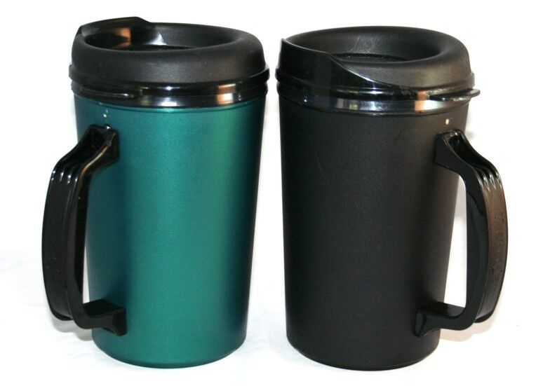 2 foam insulated 20 oz thermoserv mugs black green ebay. Black Bedroom Furniture Sets. Home Design Ideas