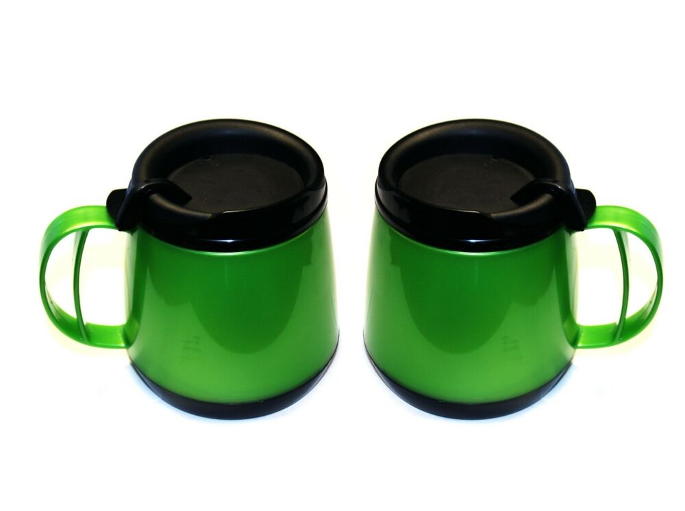 2 foam insulated 20 oz wide body travel mugs green ebay. Black Bedroom Furniture Sets. Home Design Ideas