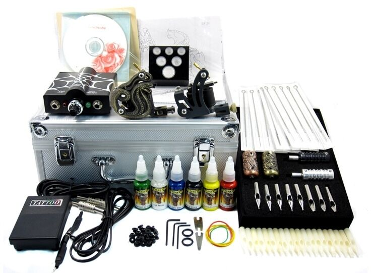 1 tattoo kit supply needle machine ink tube case ebay for Supplies for tattooing