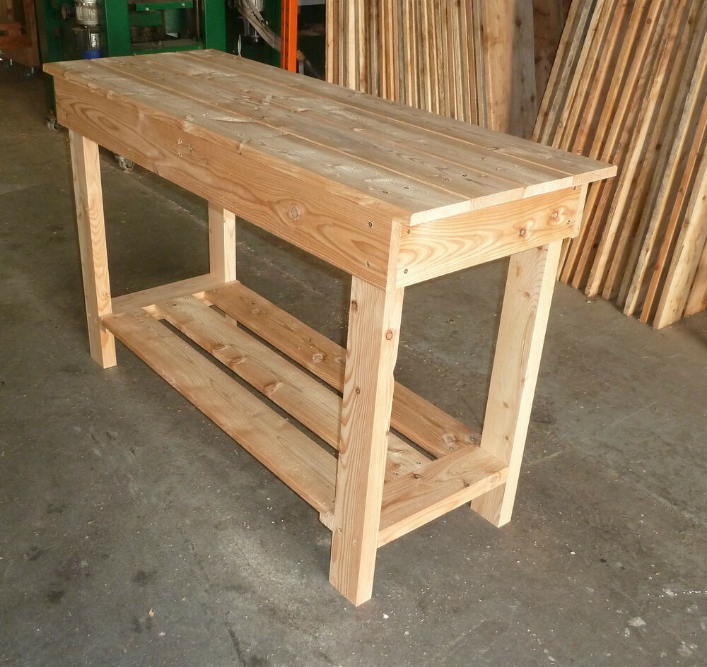 Wooden Work Bench 1 45m Long Great For Garage V Sturdy Ebay