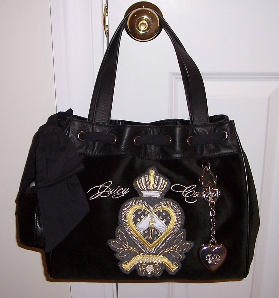 nwt juicy couture daydreamer heart crown tote bag ebay. Black Bedroom Furniture Sets. Home Design Ideas