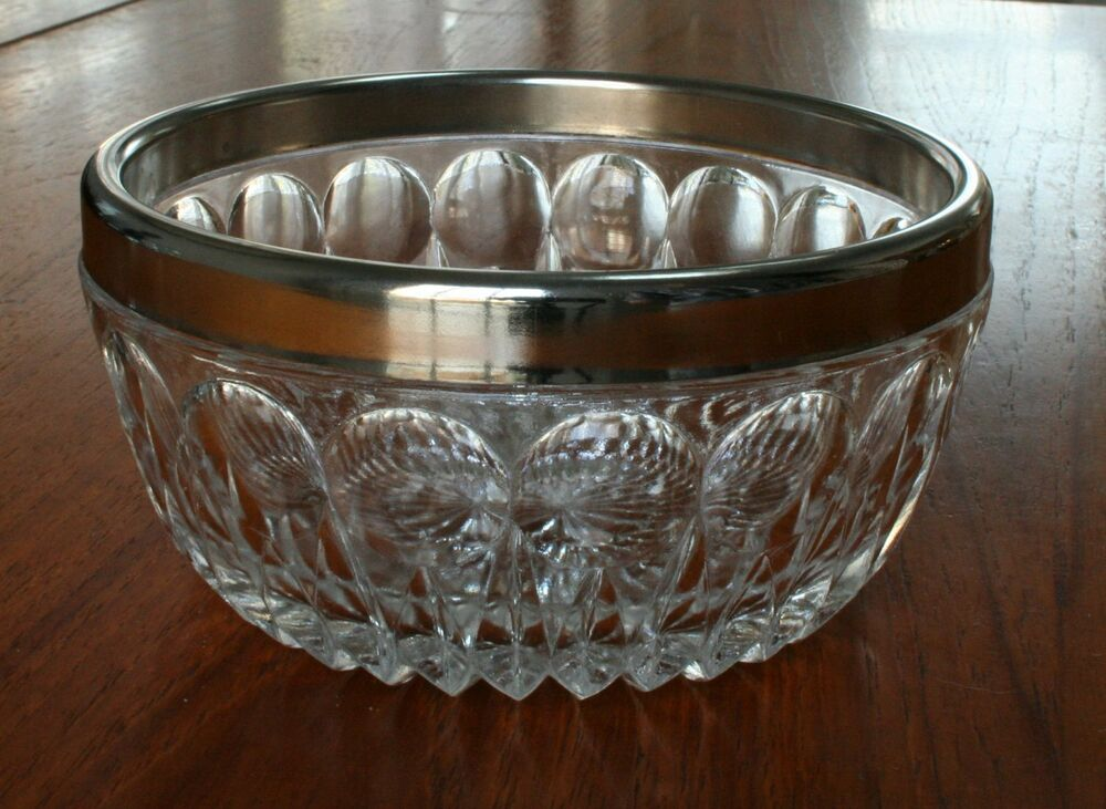 Cut glass optic vintage candy bowl silver metal rim so How can i cut glass at home