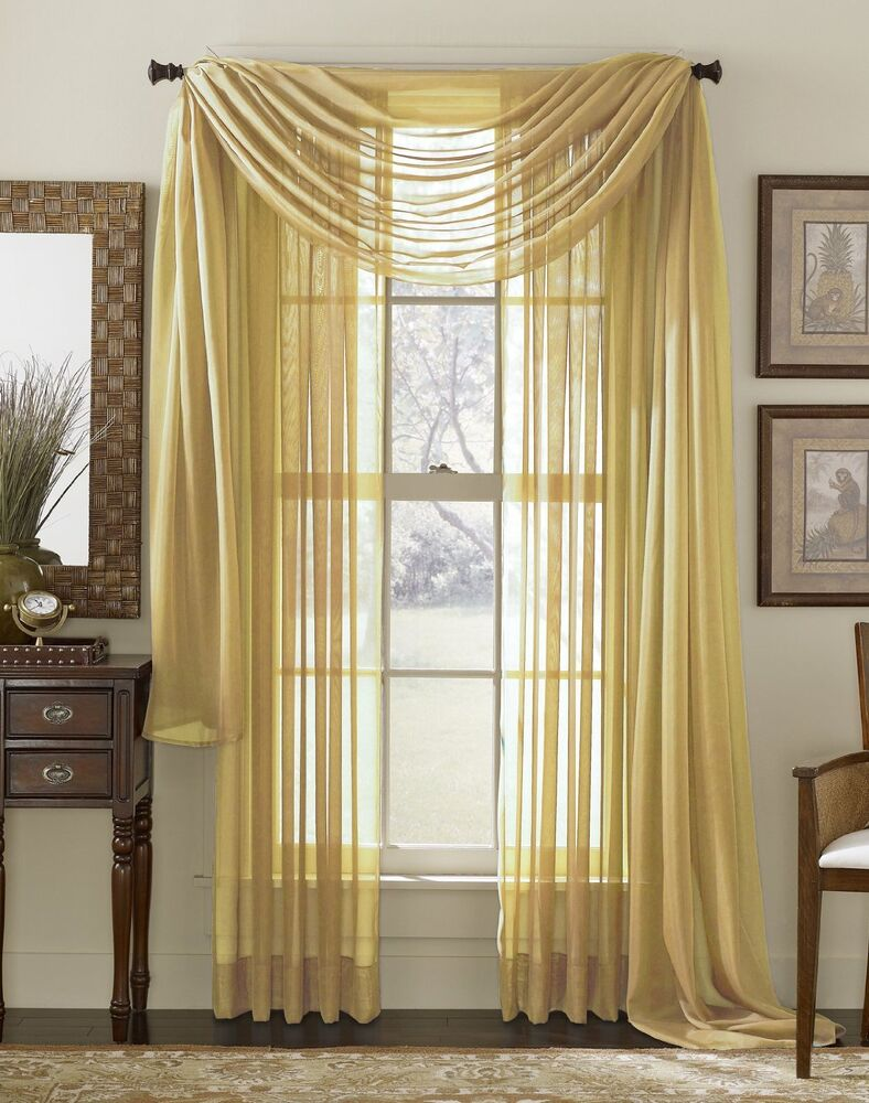 Sheer voile 216 window scarf gold ebay for Window voiles