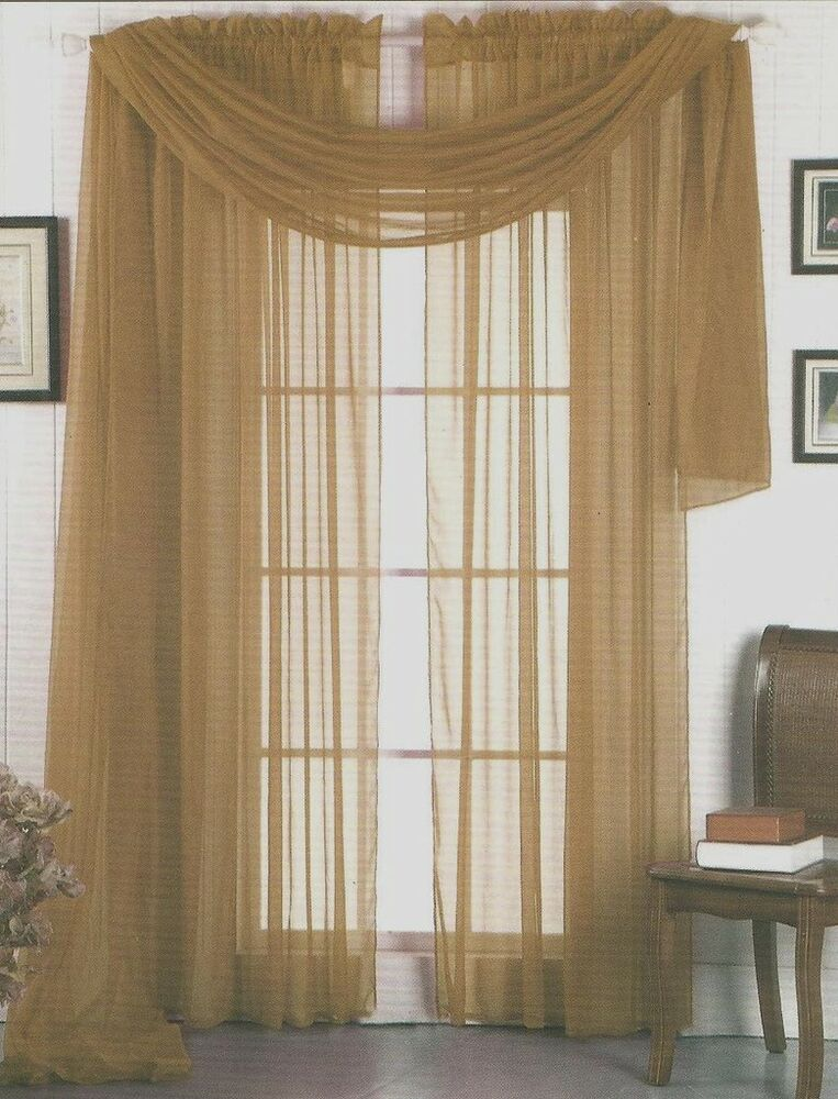 Sheer Voile 216 Quot Window Scarf Taupe Tan Ebay
