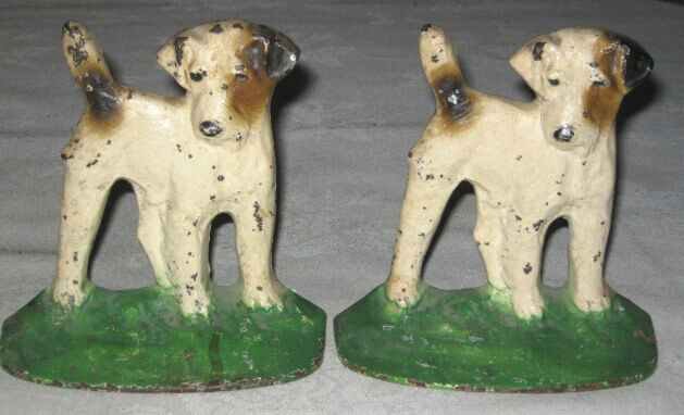 antique hubley cast iron terrier whippet puppy dog art statue desk deco bookends ebay. Black Bedroom Furniture Sets. Home Design Ideas