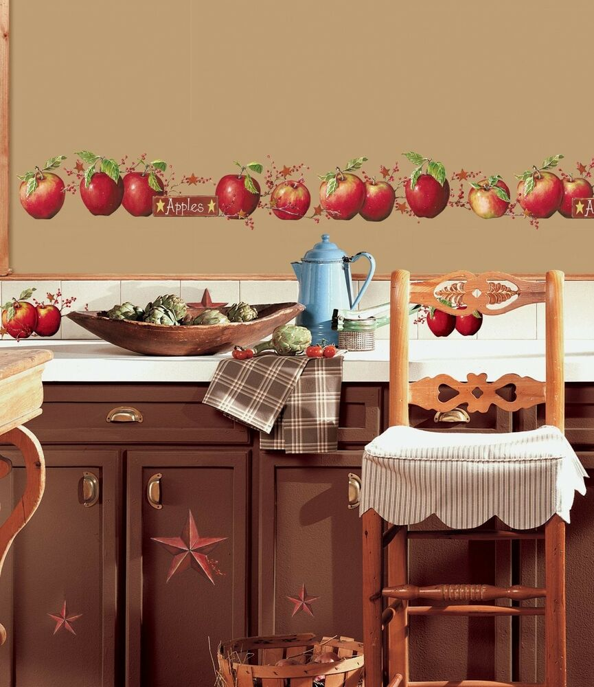 Apples 40 big wall decals country stars border kitchen for Apples for decoration