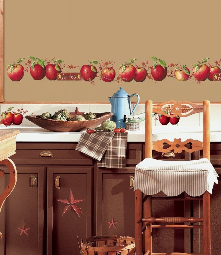 Apples 40 BiG Wall Decals Country Stars Border Kitchen Stickers Room Decor  NE