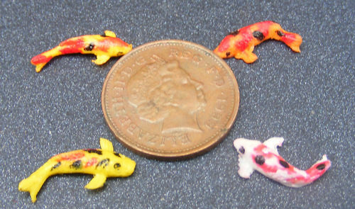 1 12 scale 6 polymer clay koi carp dolls house miniature for Mini carpe koi