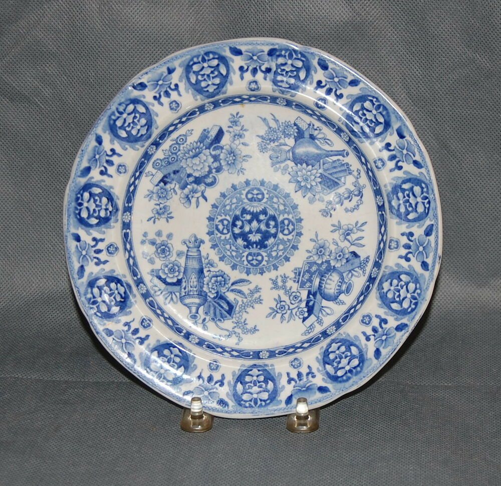 Spode pearlware pottery transfer trophies pattern plate ebay for Pottery patterns