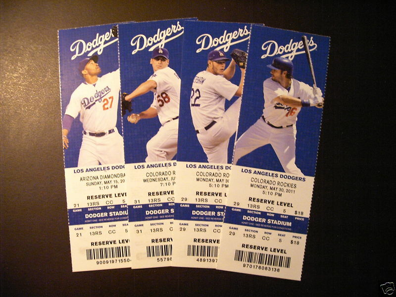 los angeles dodgers  mlb ticket stub  ticket ebay
