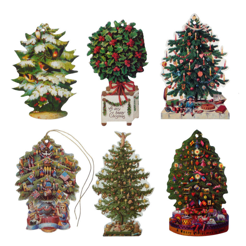 150 Victorian Die-cut Christmas Tree Gift Tags by Courtier ...