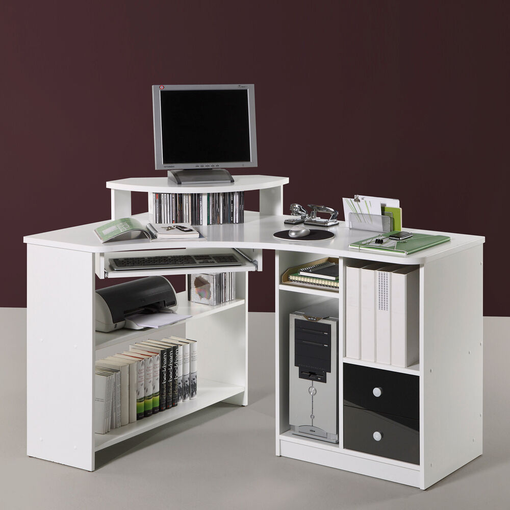 eckschreibtisch tanga in wei computer pc schreibtisch b ro jugendzimmer ebay. Black Bedroom Furniture Sets. Home Design Ideas