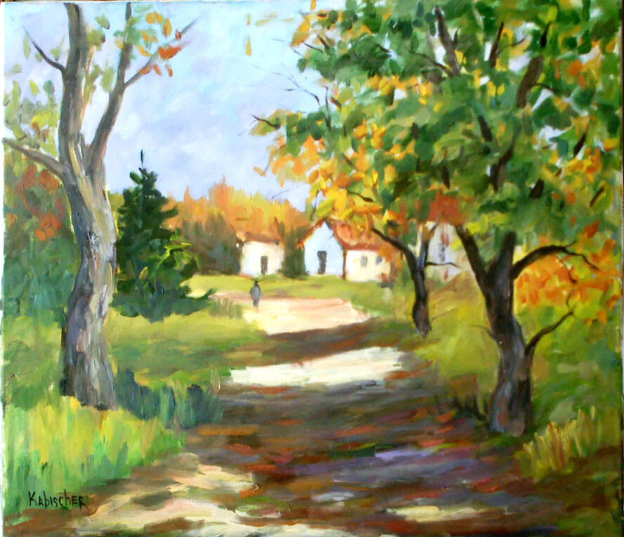 Country Village Lane Rural Scene Signed Original Oil