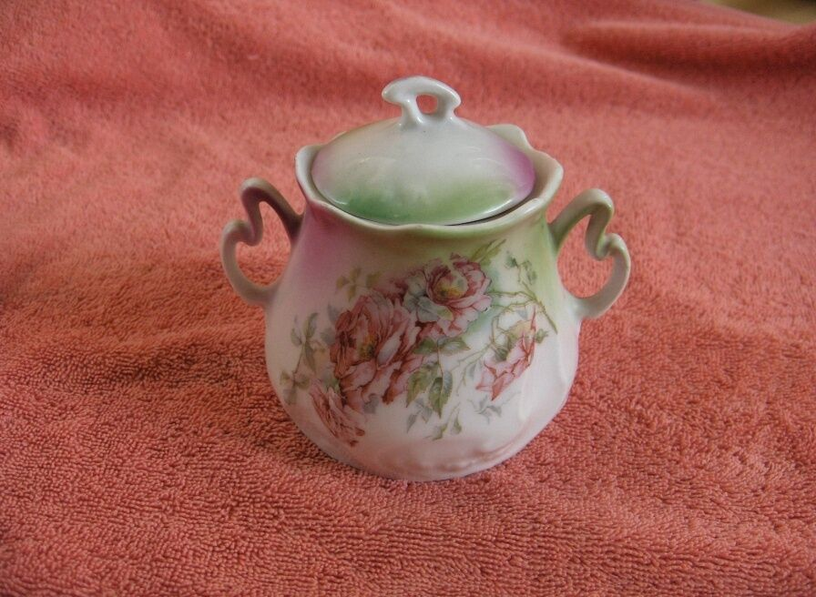 Antique Glass Sugar Bowl With Lid