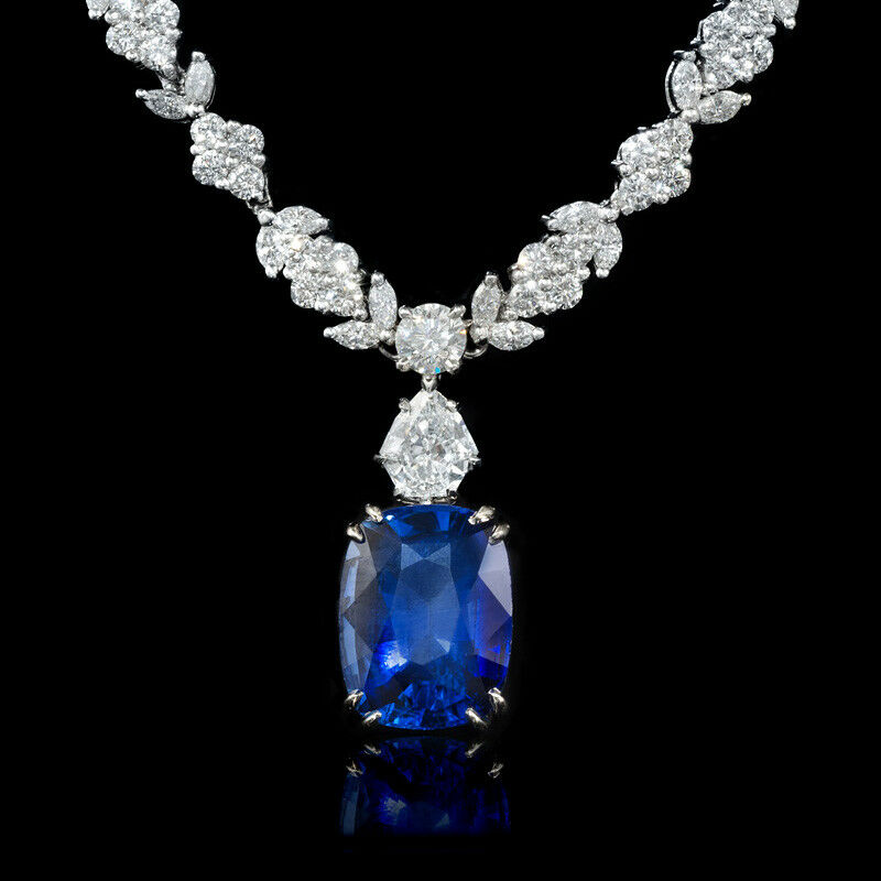 platinum diamond and blue sapphire necklace ebay. Black Bedroom Furniture Sets. Home Design Ideas