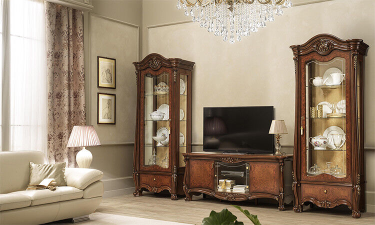 wohnzimmer tv wand zwei vitrinen tv schrank nussbaum. Black Bedroom Furniture Sets. Home Design Ideas