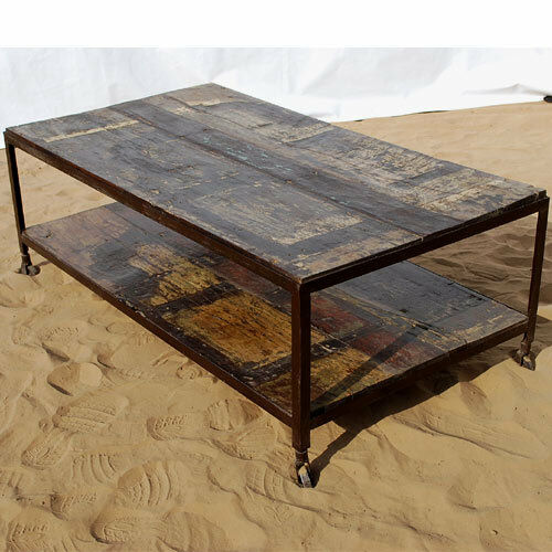 Ebay Iron Glass Coffee Table: Rustic Solid Wood Iron Weathered Distressed Two Tier