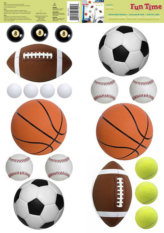 sports balls wall stickers football soccer basketball baseball room decor decals 91212471047 ebay - Sports Wall Stickers For Bedrooms