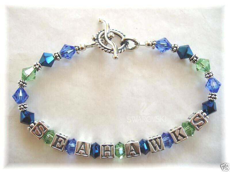 c428f2a36 SEATTLE SEAHAWKS JEWELRY BRACELET made with SWAROVSKI CRYSTALS Blue Green  Beaded