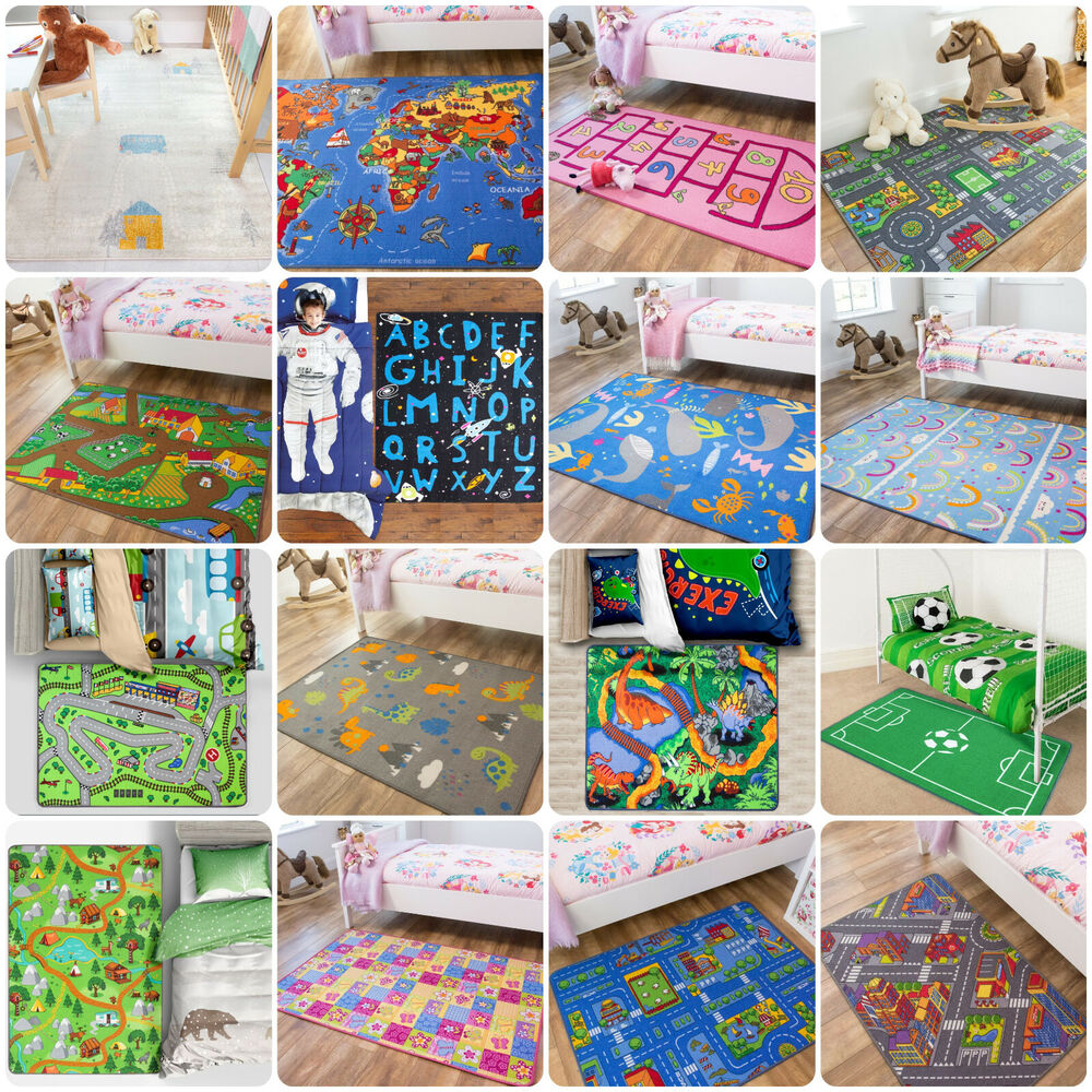 Childrens kids rugs boys girls play mat bedroom playroom for Carpet for kids rooms