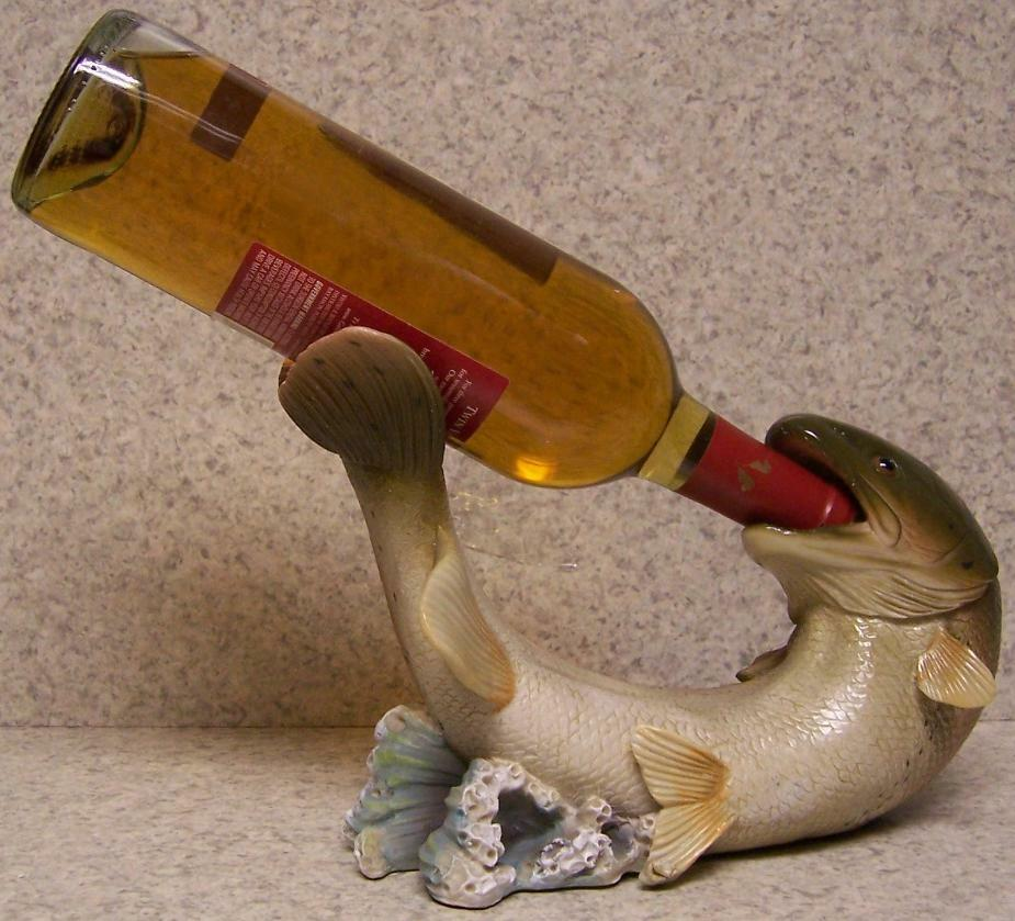 Wine bottle holder and or decorative sculpture trout fish for Fish wine bottle