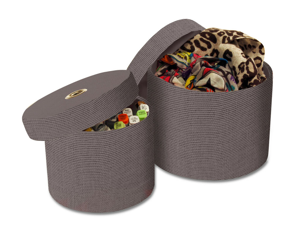 2 round storage boxes with lids in grey ebay. Black Bedroom Furniture Sets. Home Design Ideas