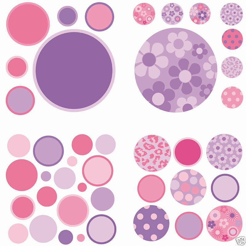 Polka dots 42 wall pops stickers room decor purple pink for How to make polka dots on wall
