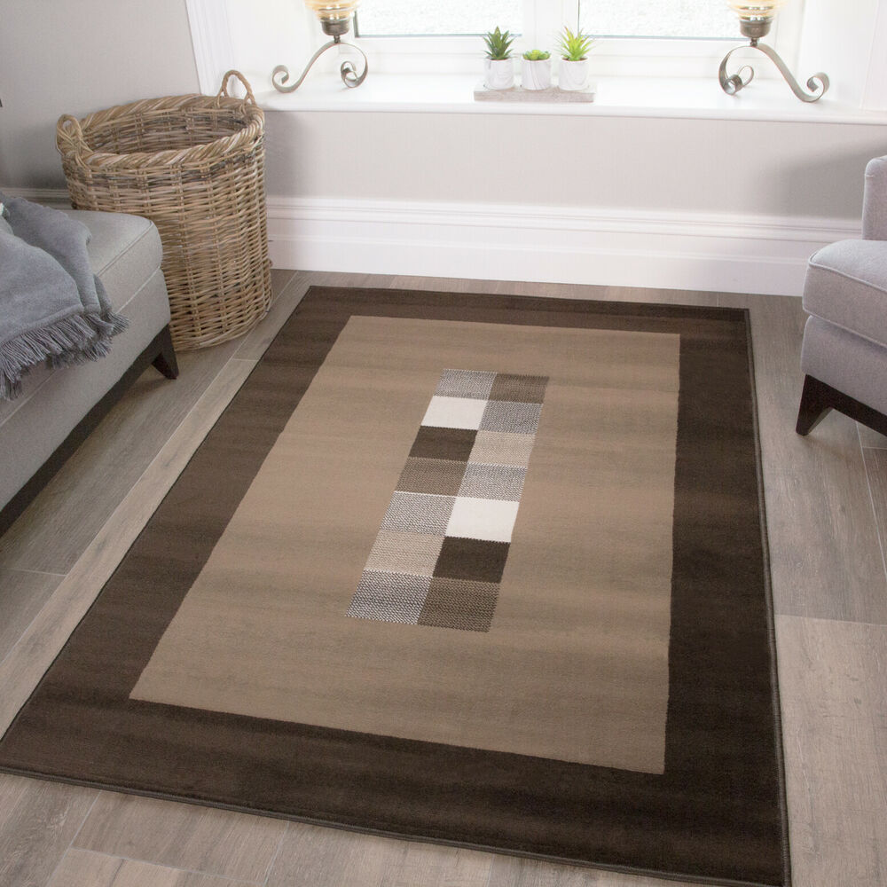 Chocolate Brown Cream Modern Quality Rug Small Large