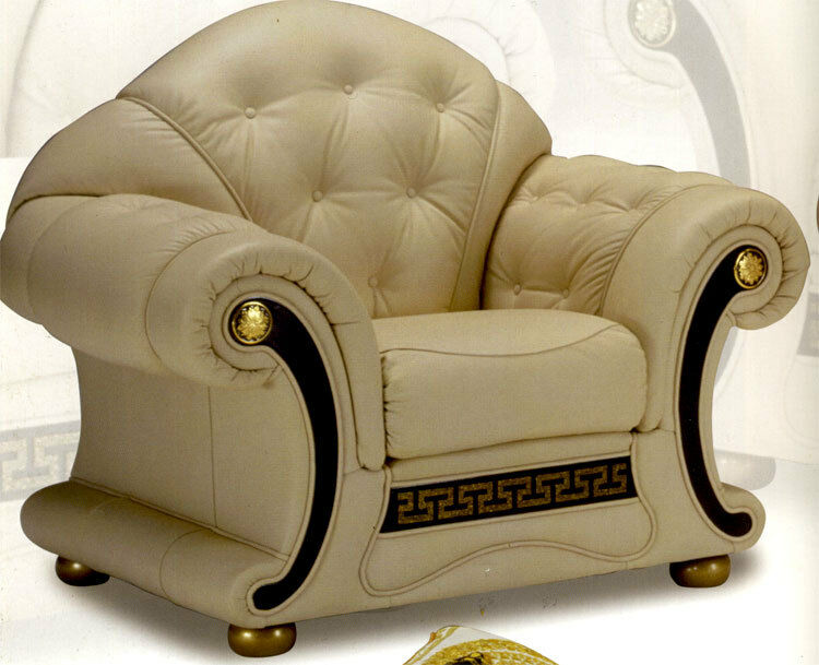 exklusive sofa beige leder couch sessel echtleder garnitur m bel italien luxus ebay. Black Bedroom Furniture Sets. Home Design Ideas