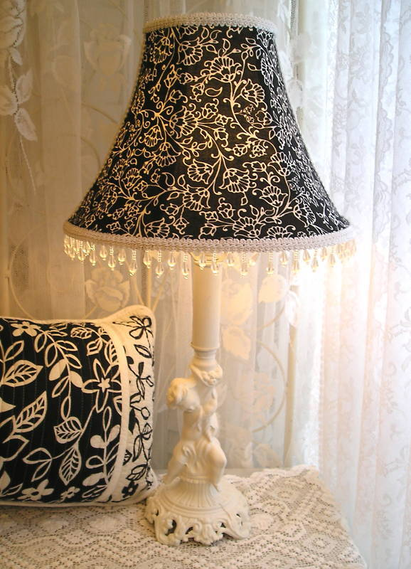 Sale 9 Quot Lampshade Black White Toile Fabric Shabby Rose
