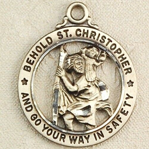 sterling silver st christopher open rd catholic patron saint medal pendant charm ebay. Black Bedroom Furniture Sets. Home Design Ideas