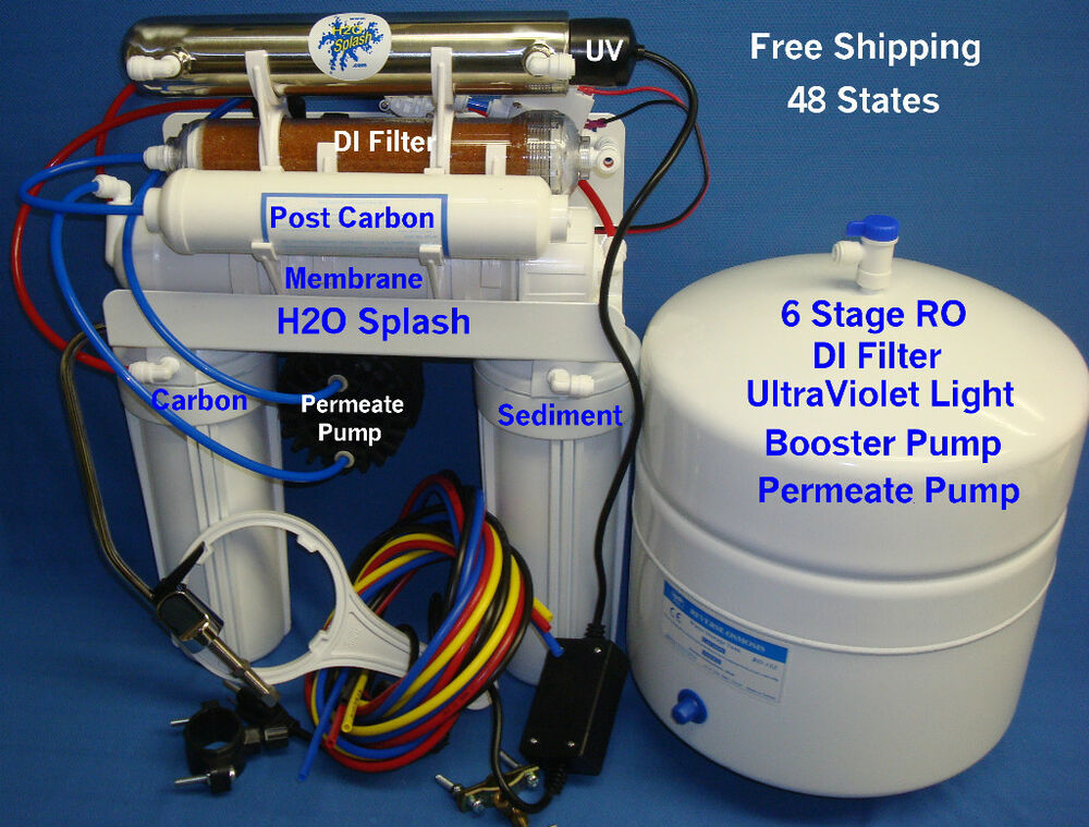 Reverse Osmosis 6 Stage 100 150gpd Ro Di Uv Booster