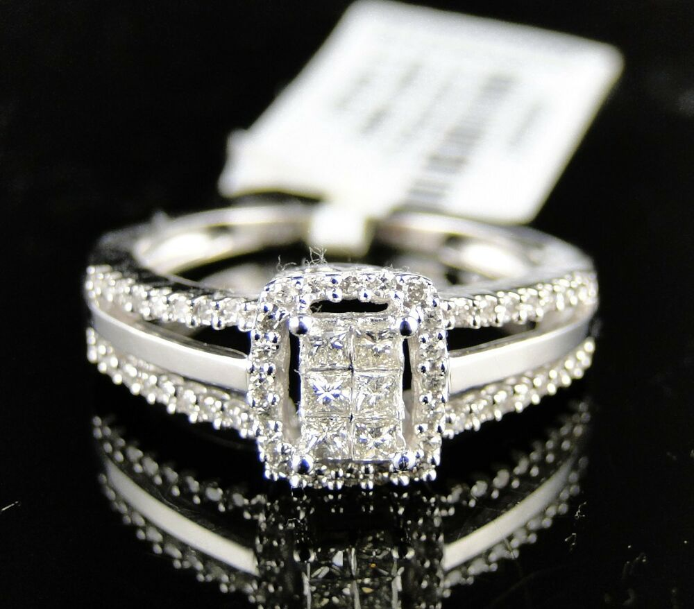 14k ladies womens white gold princess cut diamond bridal for Ladies diamond wedding ring sets