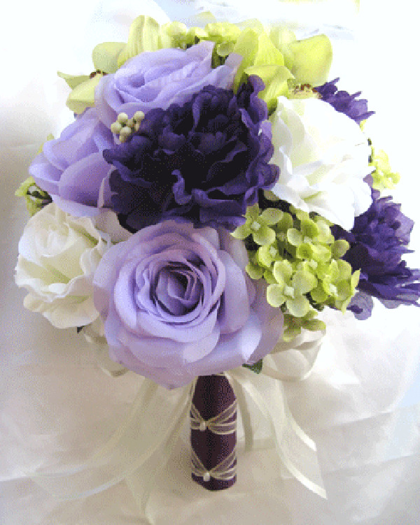 silk wedding bouquets packages wedding bouquet bridal silk flowers purple green lavender 7421