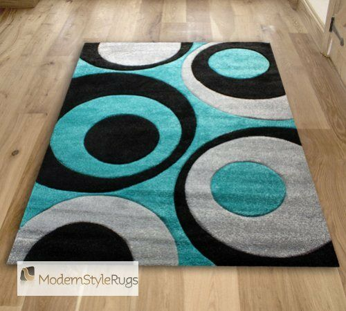 Teal Blue Black And Grey Circles Pattern Rug